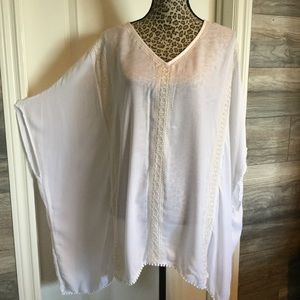 White Embroidered Poncho Tunic